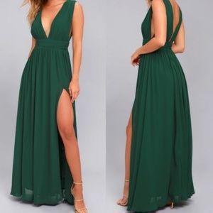 Lulus Heavenly Hues Forest Green Maxi Dress M NEW